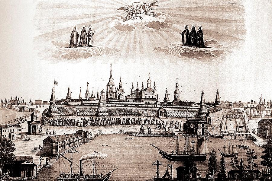 Вид на монастырь из бухты Благополучия Гравюра 1850