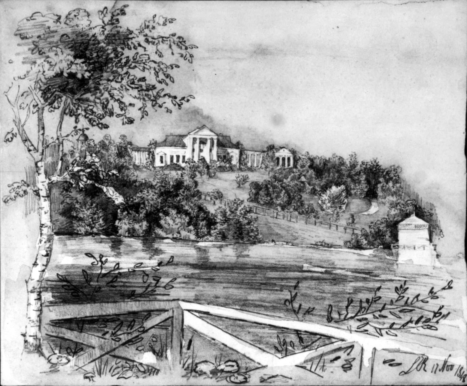 Усадьба Рачинских в Татеве, 1848 г. Рисунок Владимира Рачинского