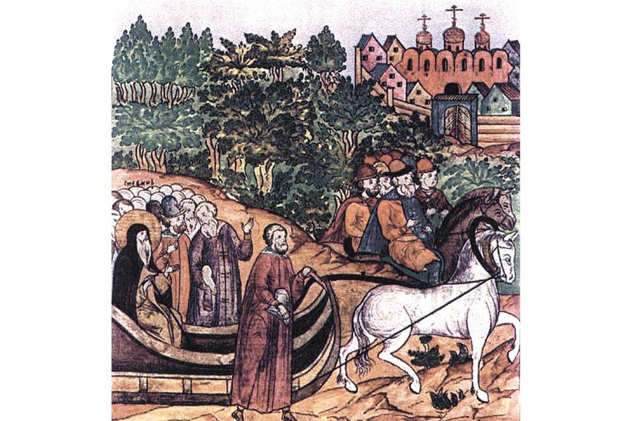 Святитель Стефан по дороге в Москву