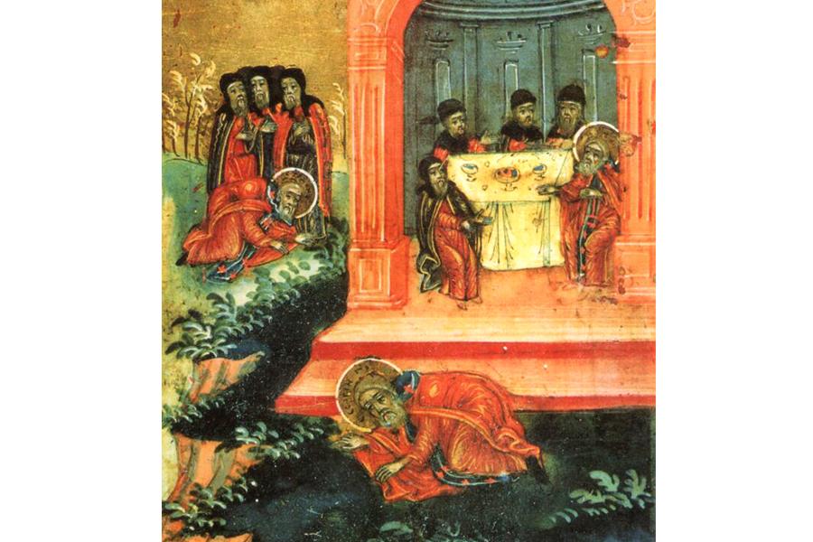 Святитель Стефан и Преподобный Сергий приветствуют друг друга, клеймо иконы