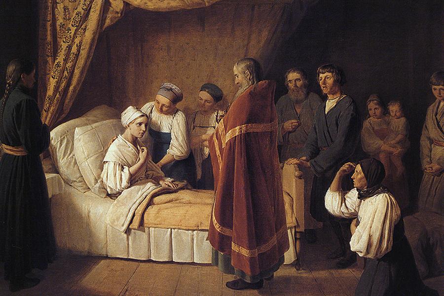 Причащение умирающей, картина Бенуа, 1839 г.