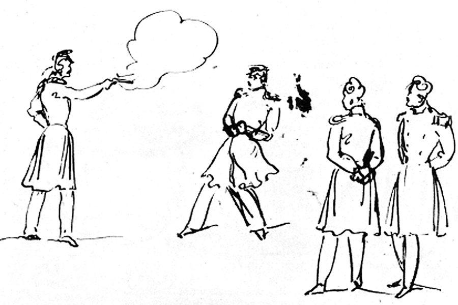 Дуэль, рисунок Пушкина, 1933