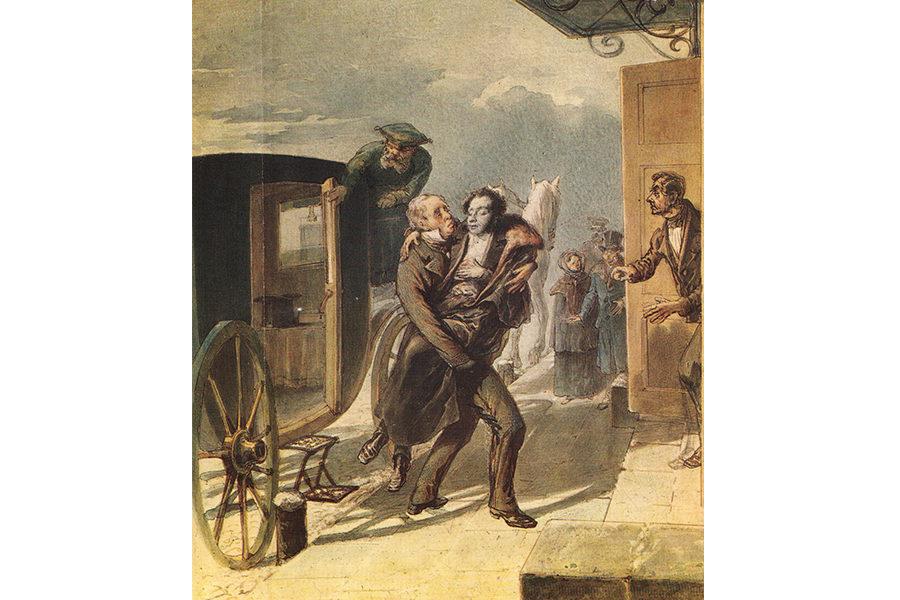 Возвращение Пушкина с дуэли, с акварели Петра Бореля