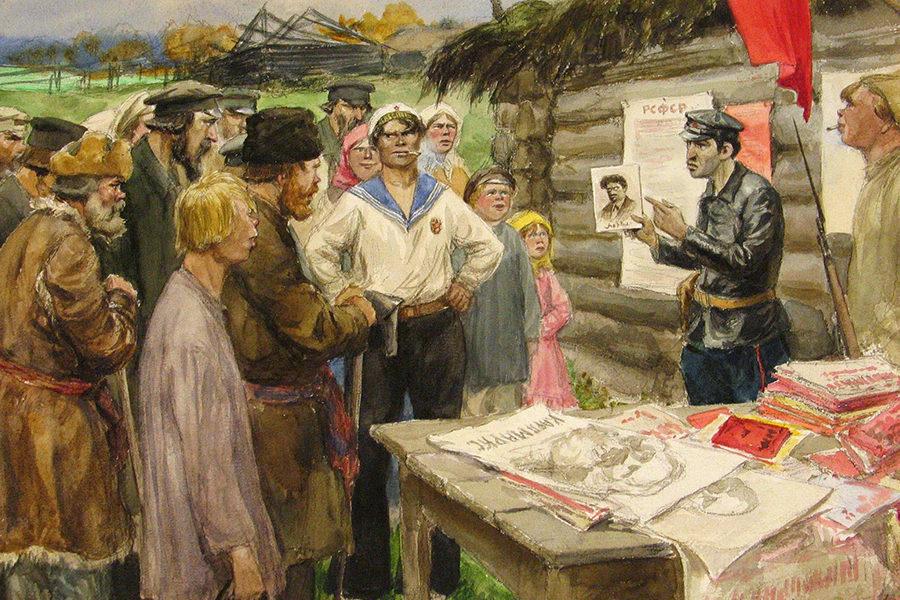 Агитатор в деревне Рисунок Владимирова