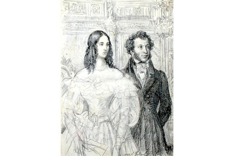 Пушкин и Натали, рисунок Евгения Устинова