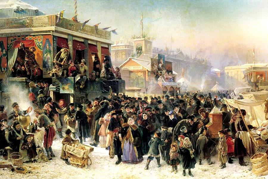 Маковский Народное гулянье во время масленицы на Адмиралтейской площади в Петербурге, 1869