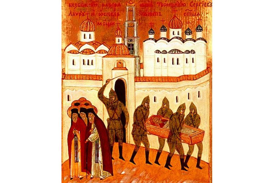 Похищение мощей Преподобного Сергия Клеймо иконы