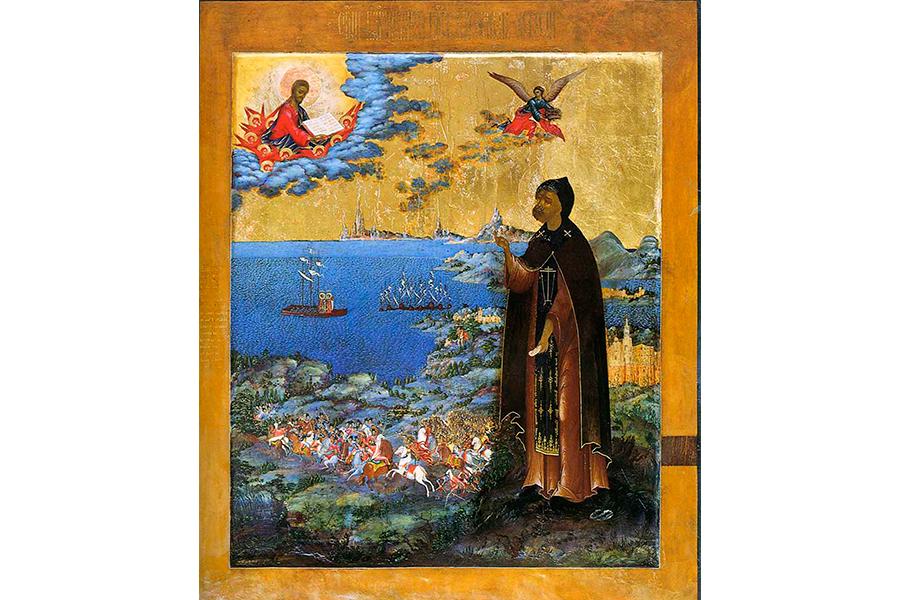 Александр Невский Икона со сценами жития, начало 19 в