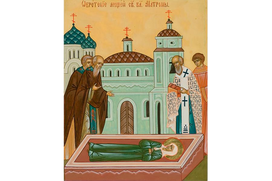 Клеймо обретения мощей старицы житийной иконы святой блаженной Матроны