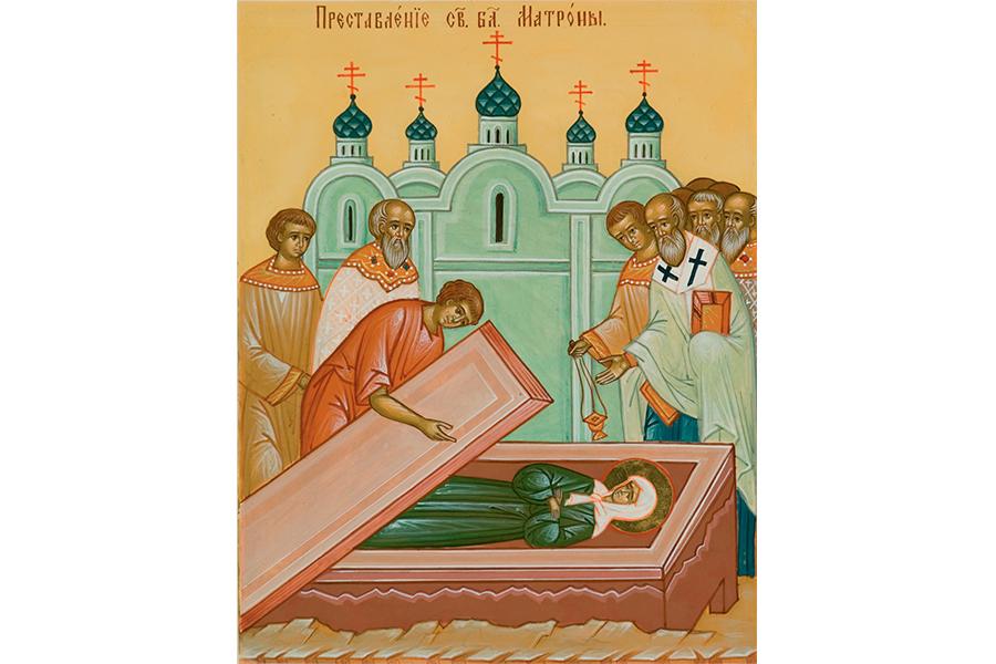 Клеймо преставления  старицы житийной иконы святой блаженной Матроны