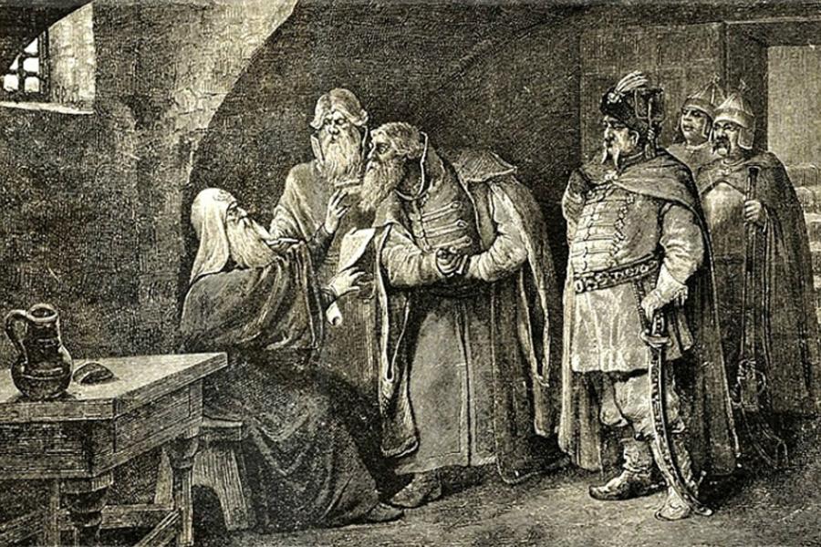 Патриарх Гермоген отказывается подписать договор поляков