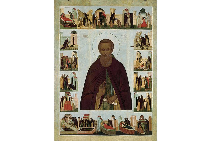 Икона Сергий Радонежский с житием 16 век