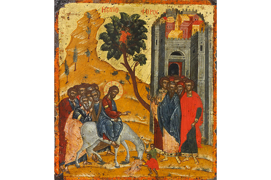 Вход Господень в Иерусалим Икона 17 век