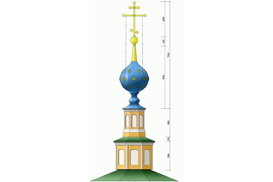 Проект воссоздания восьмерика Никольского храма, общий вид