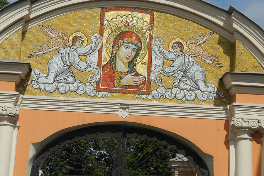 Надвратная мозаика Александро-Невской Лавры