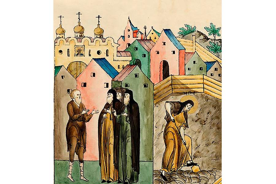 Крестьянин не узнал Преподобного Сергия, который копал землю в огороде