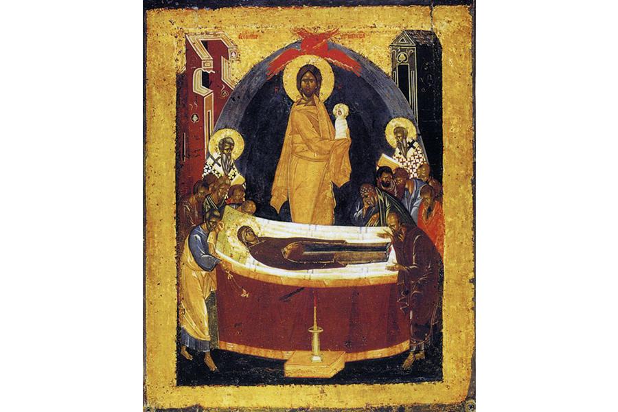 На оборотной стороне Донской иконы изображено Успение Божией Матери