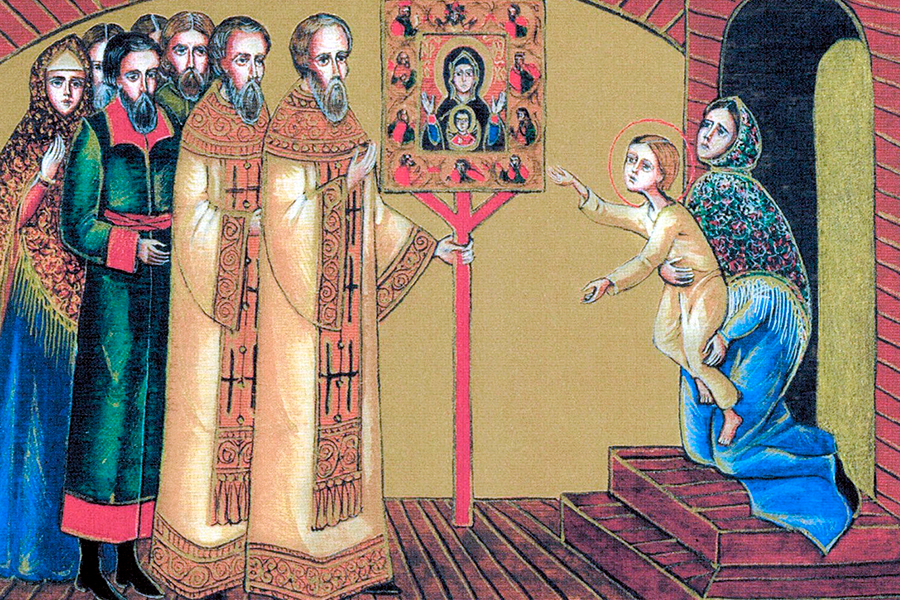 Прохор получает исцеление у Курской Коренной иконы Божией Матерои Знамение