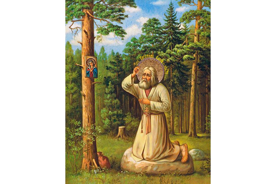 Преподобный Серафим Саровский на камне