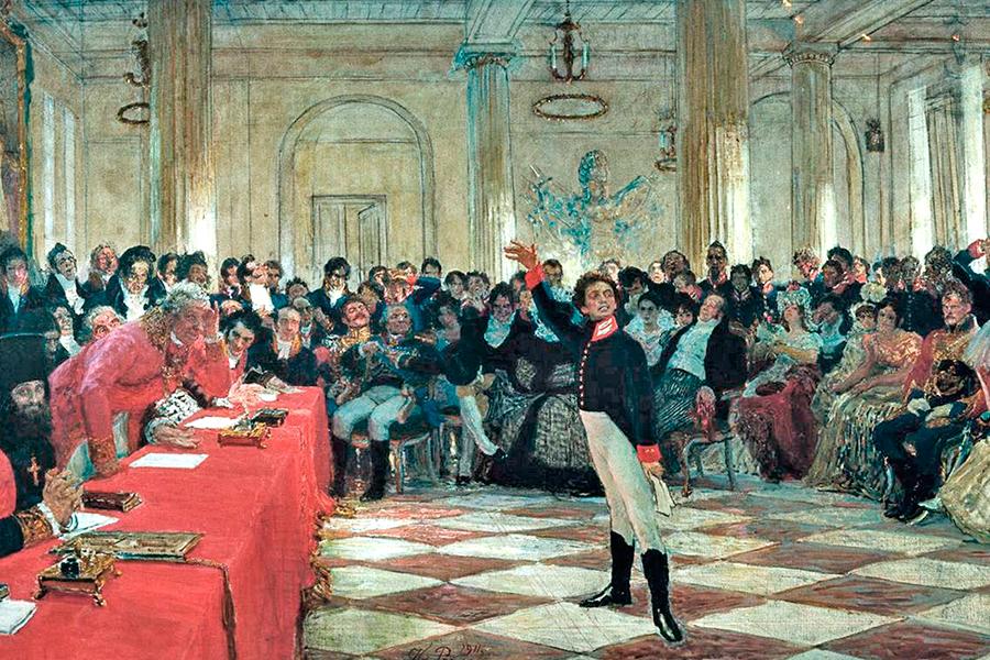 Пушкин на лицейском экзамене, картина Ильи Репина