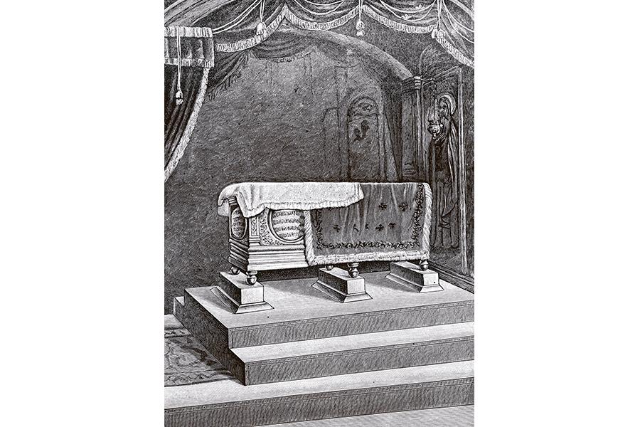 Рака с мощами святого Макария, старинная гравюра