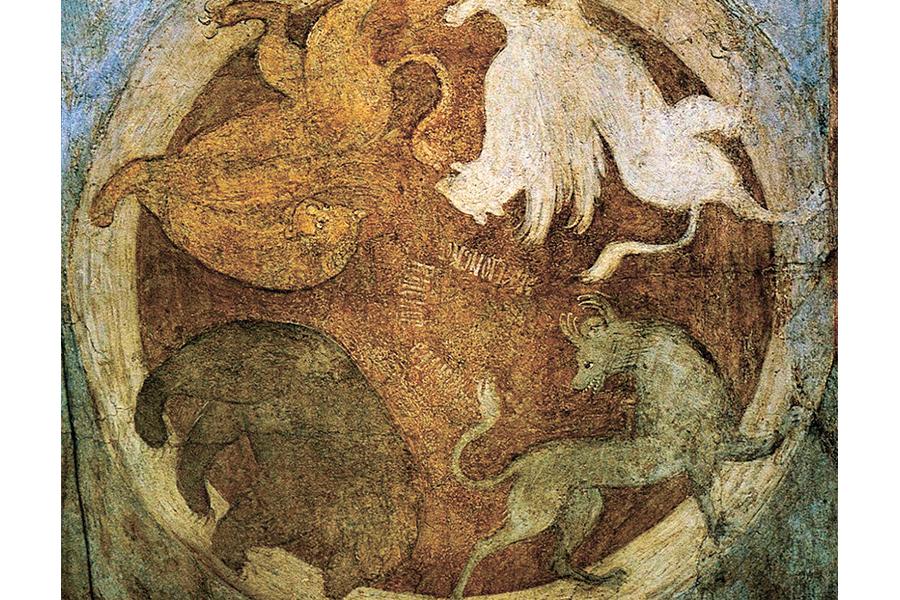 Апокалиптические звери. Фреска Успенского собора во Владимире, 1408 г.