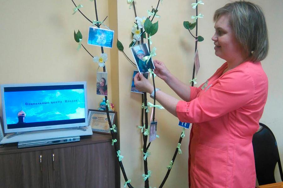 Деревце в кабинете доабортного консультирование с фоторгафиями спасенных малышей