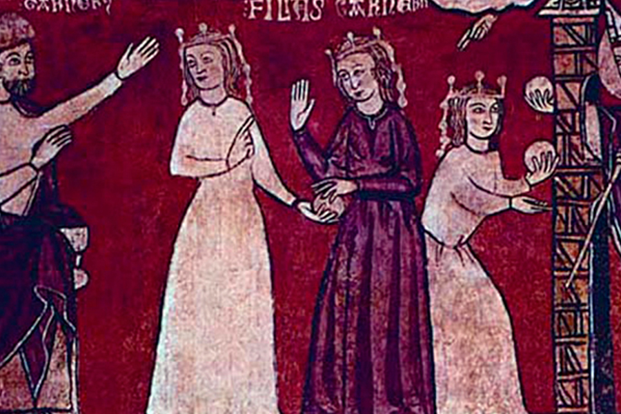 Святой Николай подбрасывает мешочки с золотом на приданое девушкам