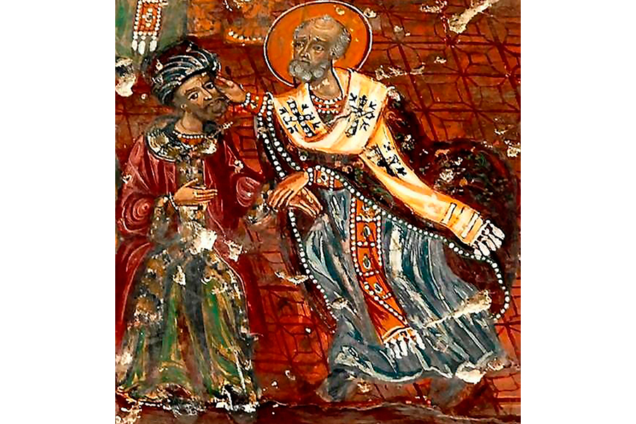Святитель Николай ударяет еретика Ария по щеке