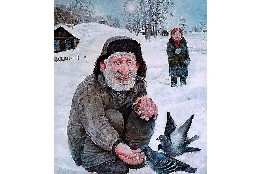 Русская деревня. Из цикла картин Леонида Баранова