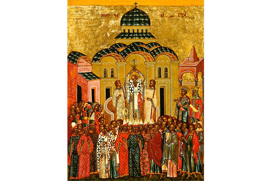 Воздвижение Креста Господня. Икона XVI века, Новгород