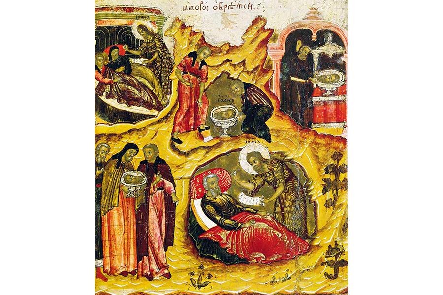 Второе обретение главы Иоанна Предтечи, клеймо иконы ок.  1700 г.