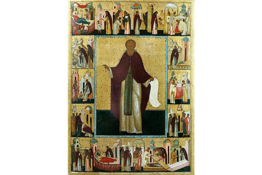 Икона Дионисия  Сергий Радонежский с житием