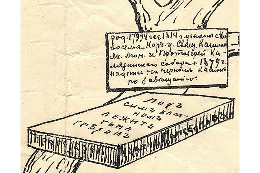 Камень на могиле Иоанна Васильевича Приселкова, рисунок из родословного древа