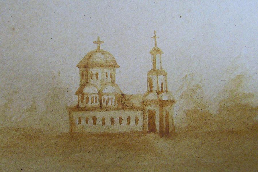 Церковь села Покровского, рисунок монахини Сретенского монастыря в Кашине