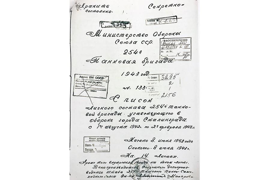 Список личного состава 254-й танковой бригады