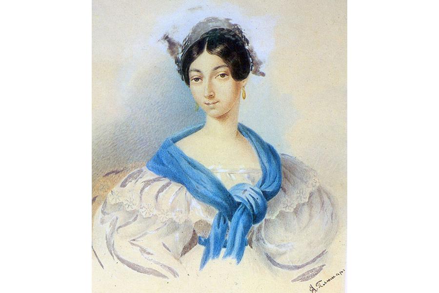 Портрет Ольги Сергеевны Пушкиной, сестры поэта. Сер. 1830-х гг.