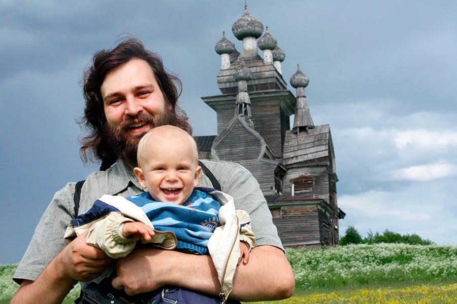 Священник Алексий Яковлев с сыном