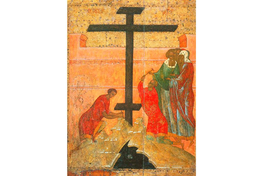 Воздвижение Креста Господня, икона XVI в.