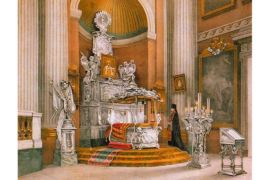 Рака с мощами святого Александра Невского. Литография