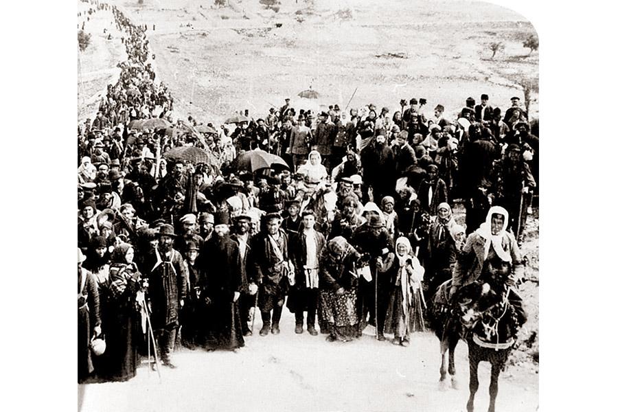 Караван русских паломников на пути из Яффы в Иерусалим