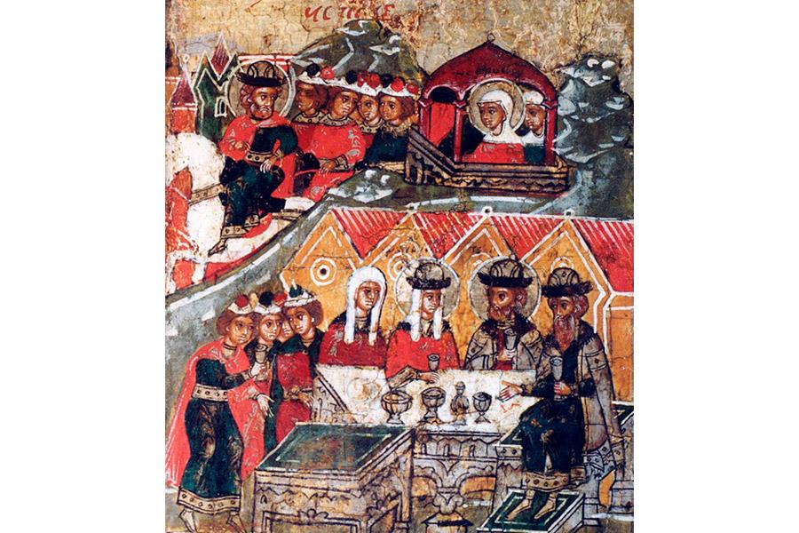 Свадьба Петра и Февронии. Клеймо иконы XVII в.