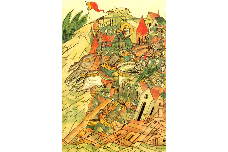 Разрушение крепости Копорье. Миниатюра из летописи