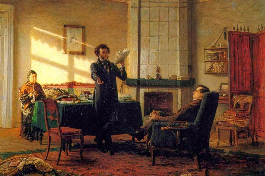 А.С. Пушкин в Михайловском читает свое новое произведение И.И. Пущину. С картины Н.Н. Ге. 1875 г.