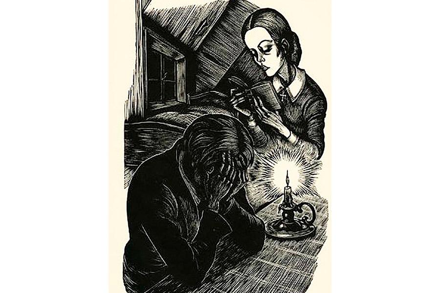 Огарок уже давно погасал в кривом подсвечнике, тускло освещая в этой нищенской комнате убийцу и блудницу, странно сошедшихся за чтением вечной книги