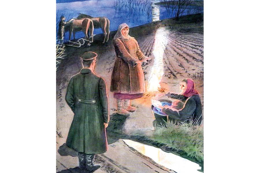 Центральным эпизодом чеховского произведения является сцена у костра на вдовьих огородах
