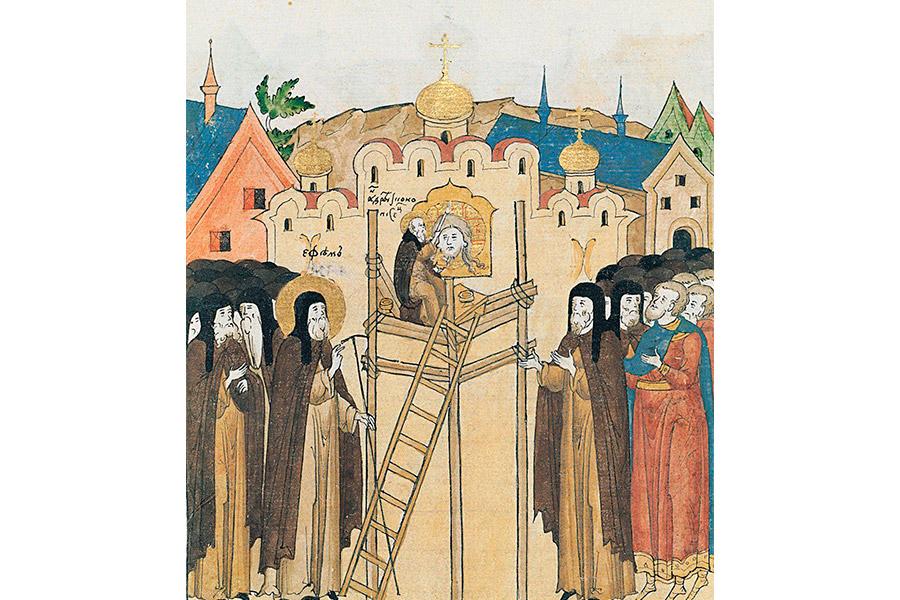Андрей Рублев расписывает Спасский собор
