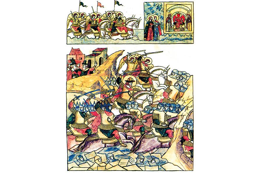 Ледовое побоище с изображением небесного войска и молящихся перед иконой Святой Софии русских святых князей Бориса и Глеба. XVI век