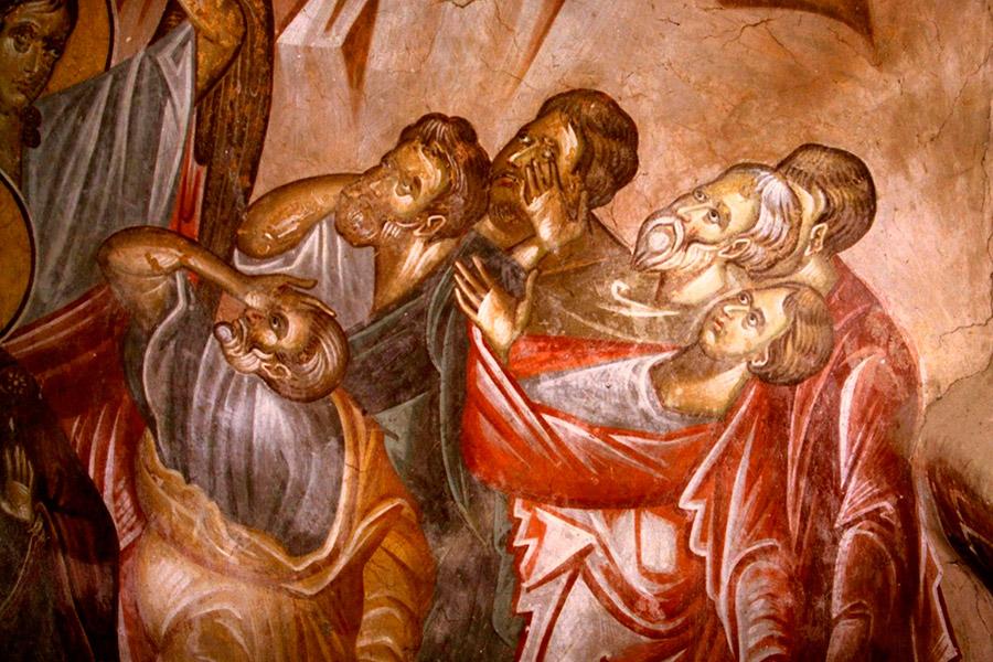 Вознесение Господне. Фреска церкви Святого Георгия в монастыре Убиси, Грузия. XIV век. Иконописец Герасиме. Фрагмент