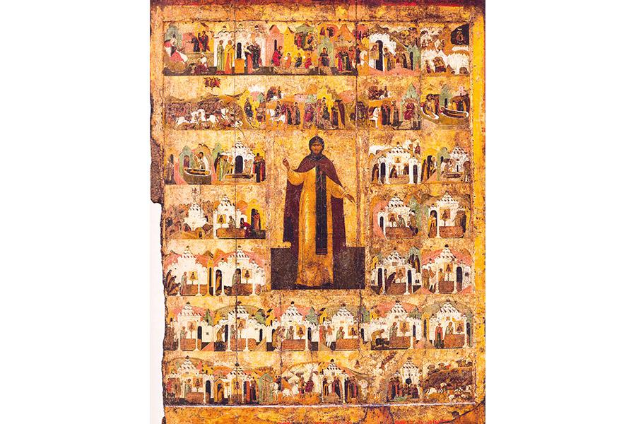 Икона с клеймами жития Александра Невского. Начало XVII в.